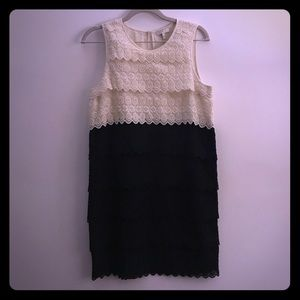 Classic Joie dress of scalloped embroidered lace